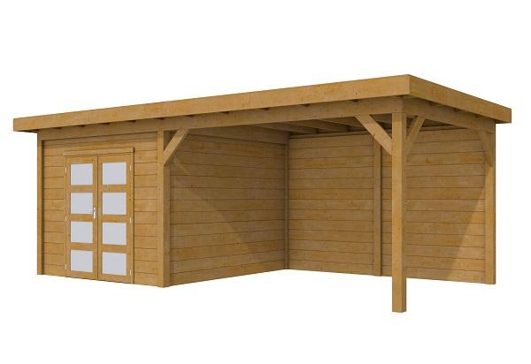 Woodvision Douglas Tuinhuis Topvision Roek geïmpregneerd 303x303 cm + luifel 400 cm