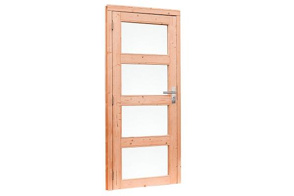 Douglas Enkele deur 4-ruits met melkglas 90x201 cm - Groen geimpregneerd Rechtsdraaiend