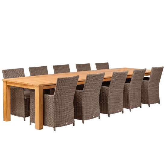 Teak dinner tafel Solide Rustiek   Tafel L400xB100xH80 cm