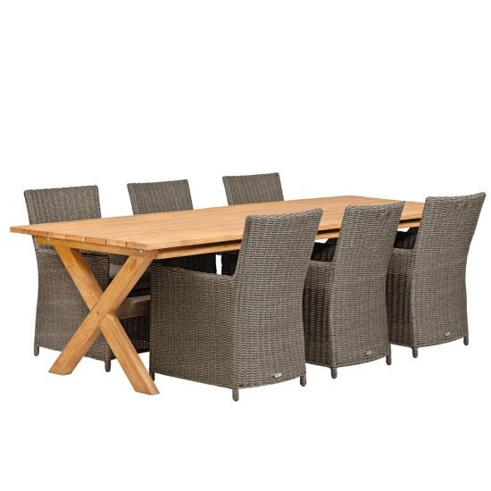 Teak dinner tafel Rustiek 2 | Tafel L350xB100xH80cm