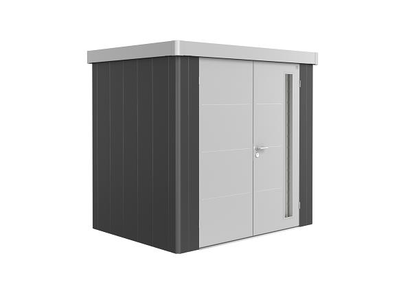Metalen berging Neo 1B 236x180 cm met dubbele deur - Donkergrijs/ Zilver