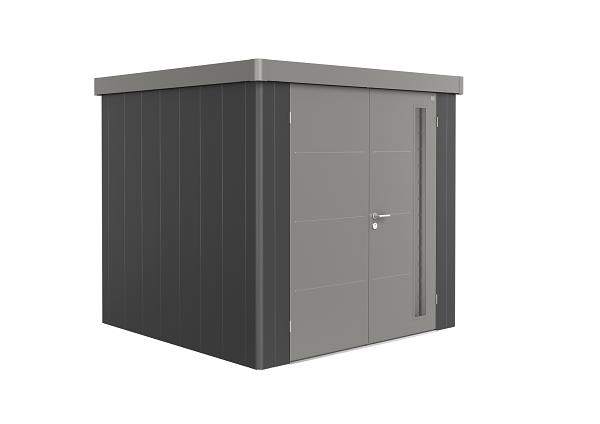 Metalen berging Neo 2B 236x236 cm met dubbele deur - Donkergrijs/ kwartsgrijs