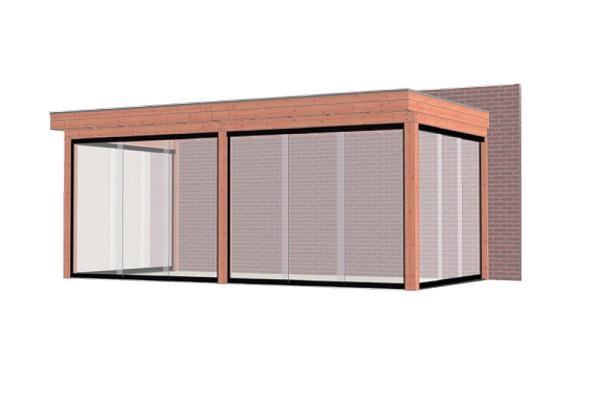 Aanbouwveranda Ancona 600x330 cm - plat dak - Combinatie 1