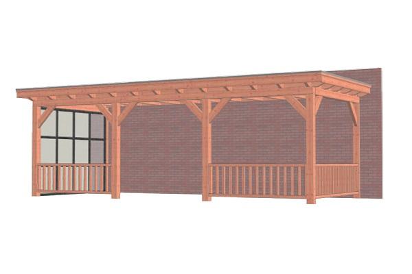 Aanbouwveranda Lucca 795x325 cm - Plat dak - Combinatie 1