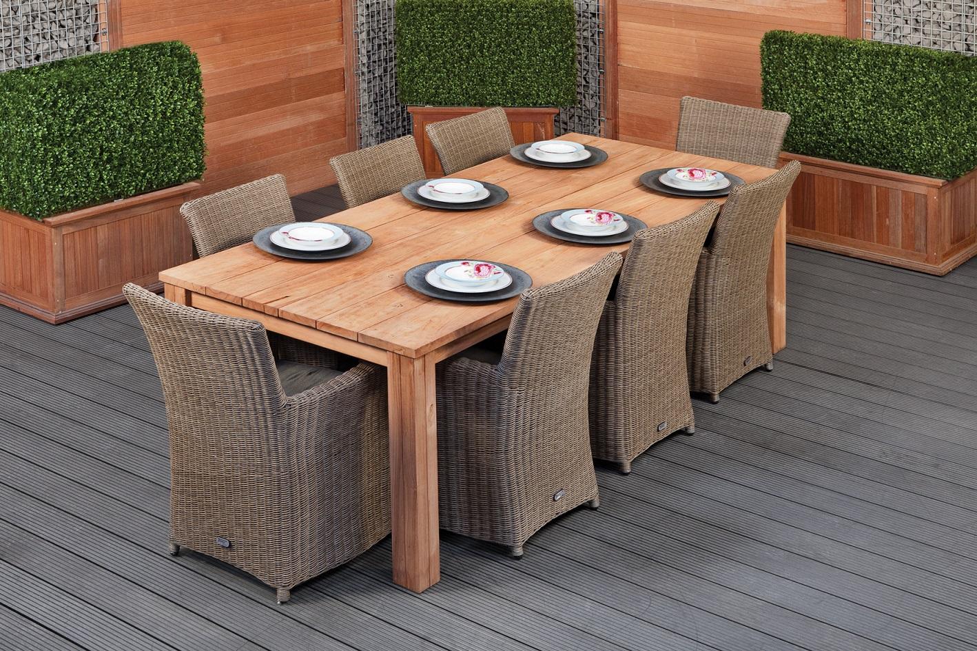 Teak dinner tafel Rustiek 250 | Tafel L250xB100xH80 cm
