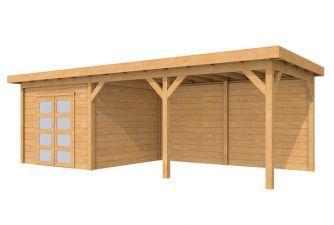 Tuinhuis Roek Blank 302,5x302,5 cm + luifel 500 cm