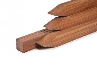 Azobé palen geschaafd 2 V-groeven met punt 6,5x6,5x100 cm