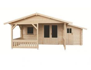Blokhut 440x340 cm + luifel 300 cm + zijaanbouw 150 cm - geïmpregneerd