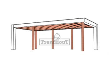Buitenverblijf Verona 755x400 cm - Plat dak model links