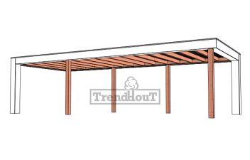 Buitenverblijf Verona 915x400 cm - Plat dak model links