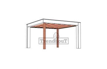 Buitenverblijf Verona 400x400 cm - Plat dak model rechts