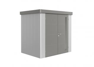 Biohort Metalen berging Neo 1B zilver/ kwartsgrijs metallic inclusief dubbele deuren