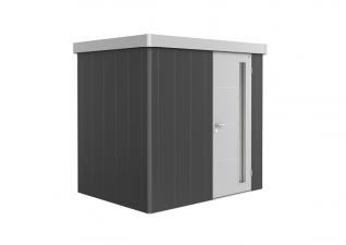 Biohort metalen berging Neo 1B 236x180 cm met enkele deur donkergrijs/ zilver metallic