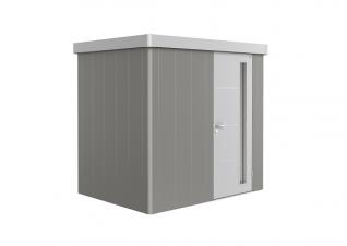 Biohort metalen berging Neo 1B 236x180 cm met enkele deur Kwartsgrijs/ zilver metallic