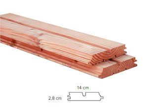 Woodvision Douglas dubbel rhombusprofiel 2,8x14 cm | 300 cm - blank