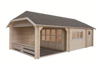 Blokhut W 440X340 cm + luifel 300 cm + aanbouw 150 cm