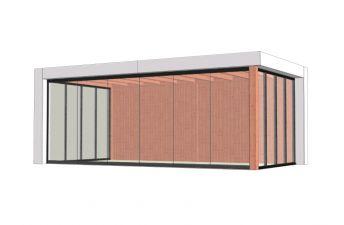 Buitenverblijf Verona 625x335 cm - Plat dak model links - combinatie 1