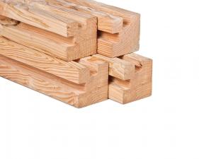 Lariks/Douglas stapelbouw hoekpaal onbehandeld 11,5x11,5x300 cm