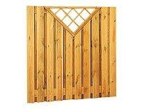 Plankenscherm grenen 180x180 cm - recht verticaal met trellis driehoek