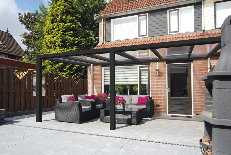 Terrasoverkapping Greenline 700x250cm wit of antraciet