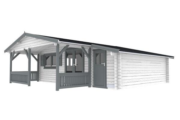 Blokhut 540x540 cm + voorluifel 300 cm + zijaanbouw 150 cm - gecoat