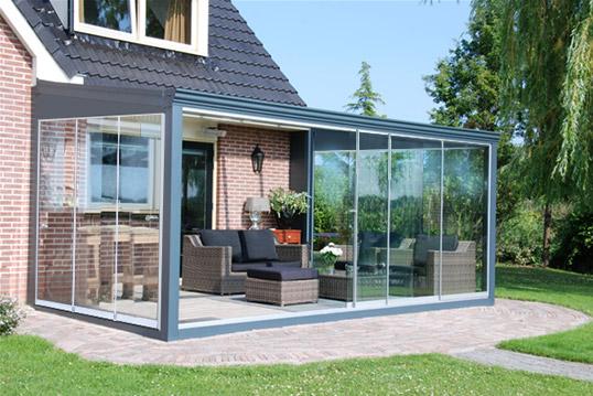 Glastuinkamer met glasdak 700x300cm op 3 staanders