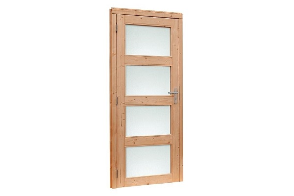 Douglas Enkele deur 4-ruits met melkglas 90x201 cm - Kleurloos geimpregneerd Rechtsdraaiend