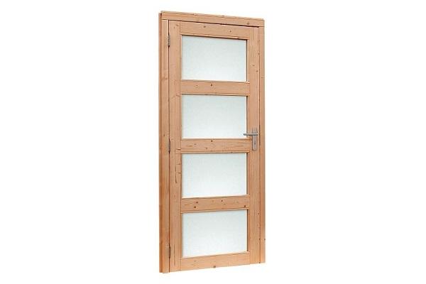 Douglas Enkele deur 4-ruits met melkglas 90x201 cm - Kleurloos geimpregneerd Linksdraaiend